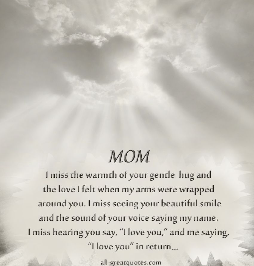Missing My Mom In Heaven Quotes Unique In Loving Memory Mom Cards  Hug Arms And Wraps Design Decoration
