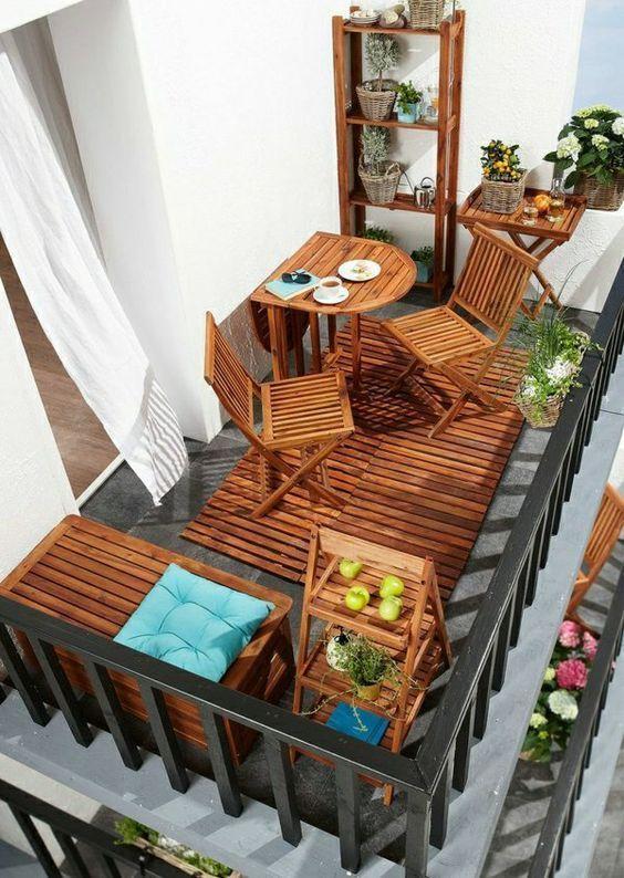 Frühstück auf dem Balkon? 17 Ideen, um den Morgen zu genießen ... Lassen Sie sich inspirieren! - shopdaily #smallbalconyfurniture