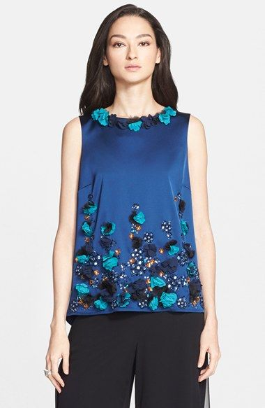 St. John Collection Embellished Structured Stretch Satin Top available at #Nordstrom
