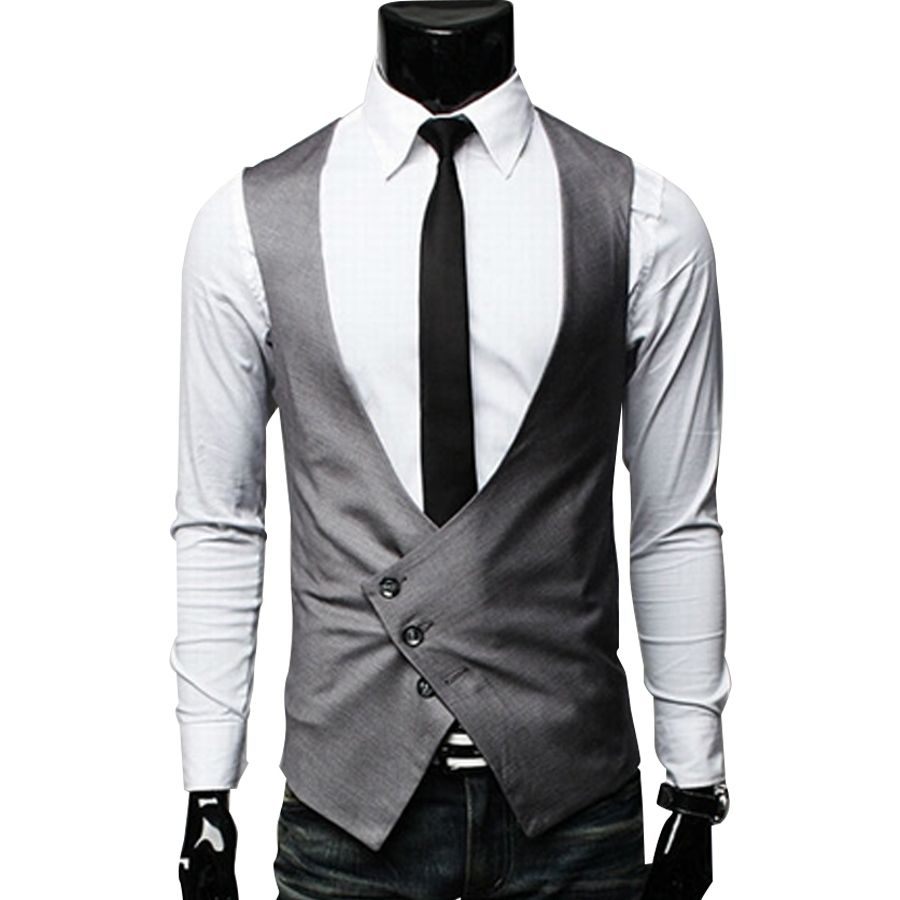 Spring New Fashion Male Cotton Suit Vest Black Gray V Neck Colete Masculino Slim Fit Single Breasted Mens Dress Vest Mens Dress Vests Mens Outfits Vest Fashion [ 900 x 900 Pixel ]