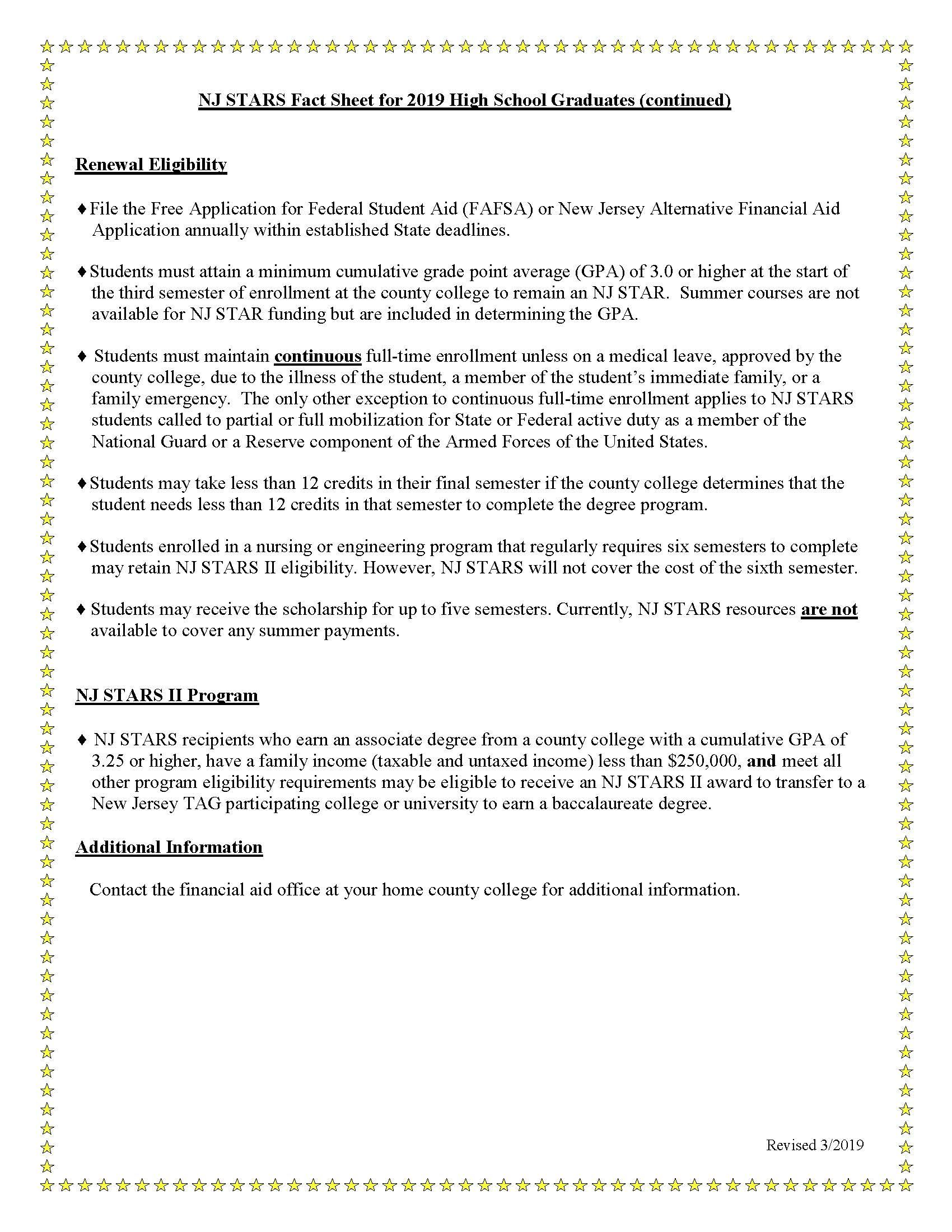 Eligibility and maintenance requirements for the nj stars