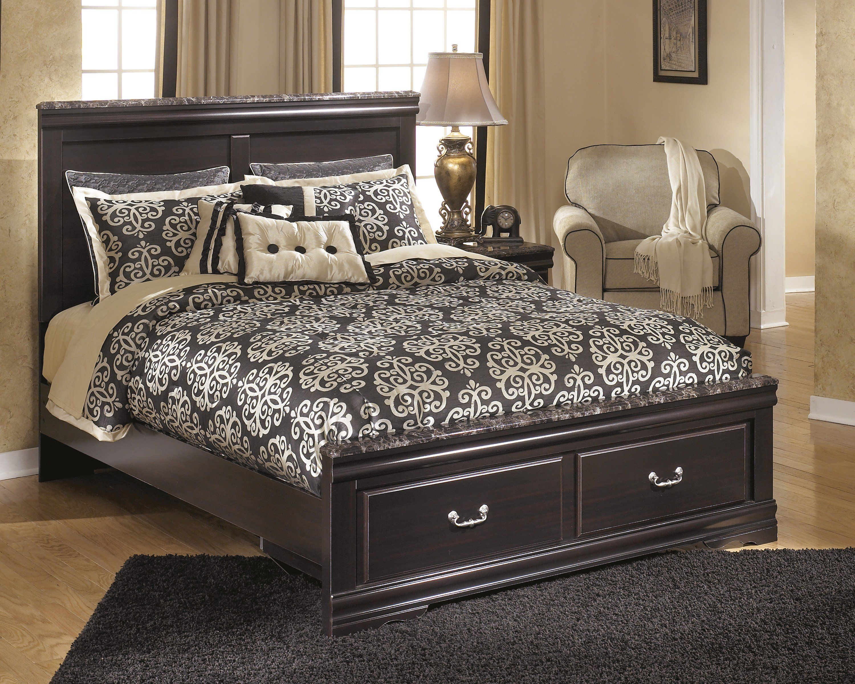 Ashley Esmarelda Dark Merlot Queen Platform Storage Bed