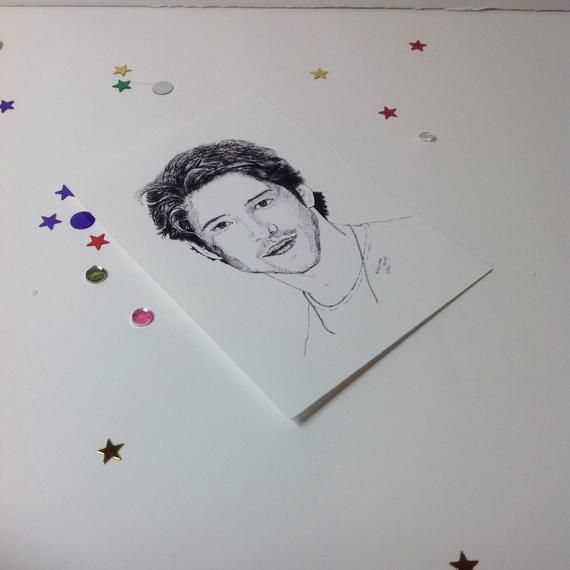 Photo of Tyler Posey Teen Wolf Drawing Sketch Print, ACEO Print of Scott McCall,Ink Drawing print of Tyler Posey, Black and white print