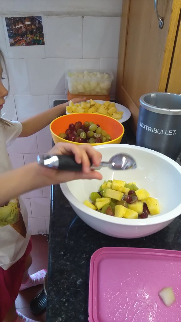 We made fruit salad using pineapple, rock melon and grapes. Children could help themselves with ice cream scoop.