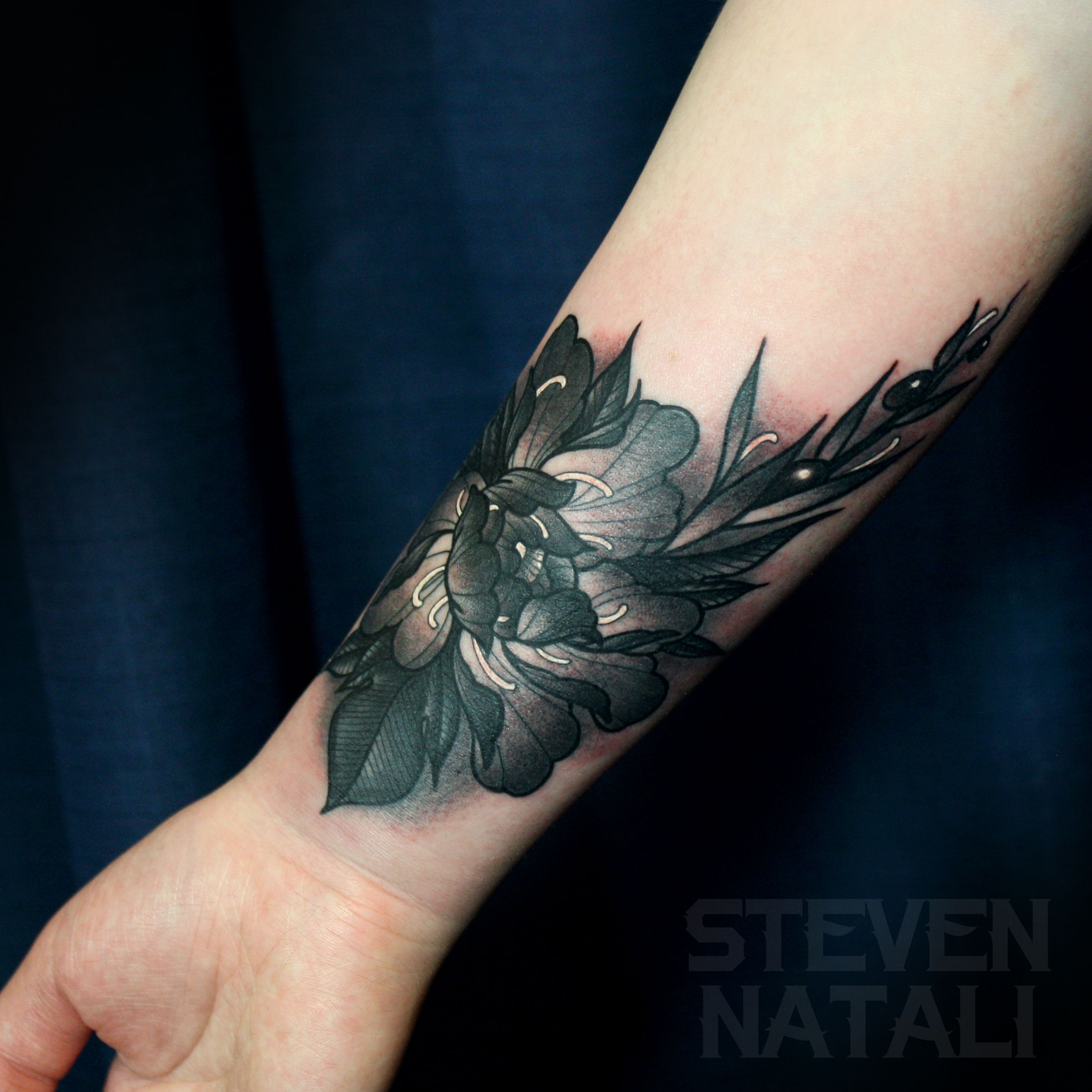 Peony Flower Cover Up By Steven Natali At Sacred Soul Tattoo
