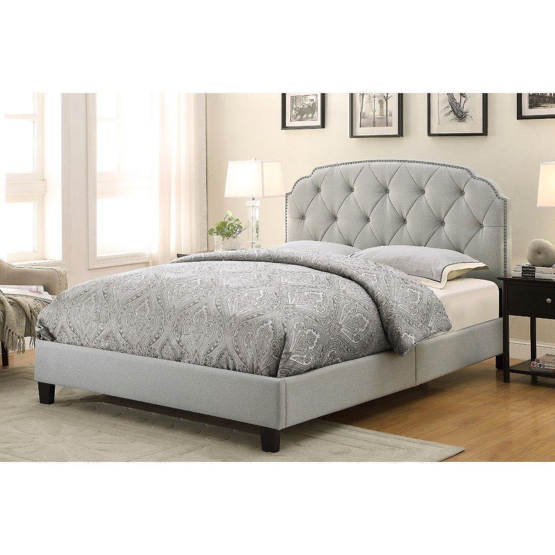Barnes upholstered allinone bed gray queen pulaski bedrooms