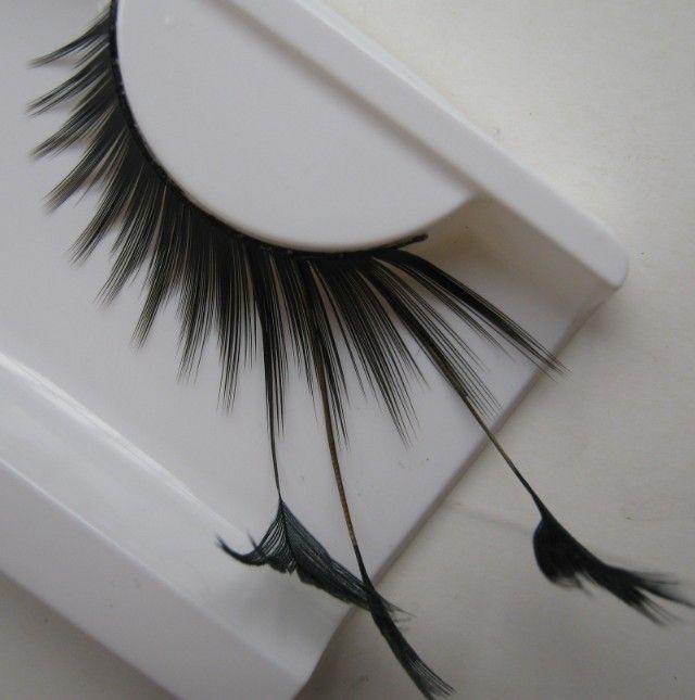 1 pairs bühne kunstform feather falsche wimpern für frauen make-up auge schwanz verlängert schwarz federn f085 erweiterte ym82