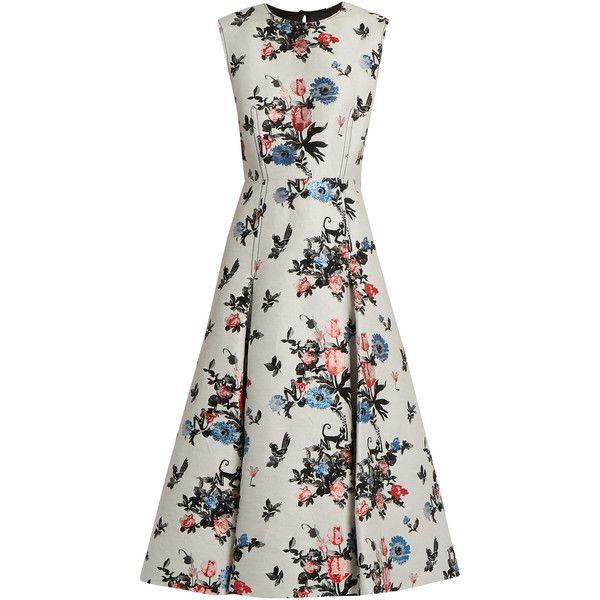 Valentino Sleeveless Enchanted Jungle-jacquard dress (137.940 ARS) ❤ liked on Polyvore featuring dresses, ivory multi, floral dresses, white dress, jacquard dress, white day dress and floral day dress