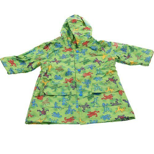 Boys Cute Green Frog Print Unlined Raincoat 4/5  #Pluie_Pluie #Apparel