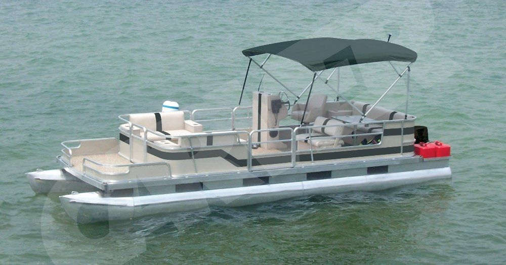 partially enclosed pontoon with black bimini top on the water & Pontoon Bimini Top to protect you from the harmful effects of the ...