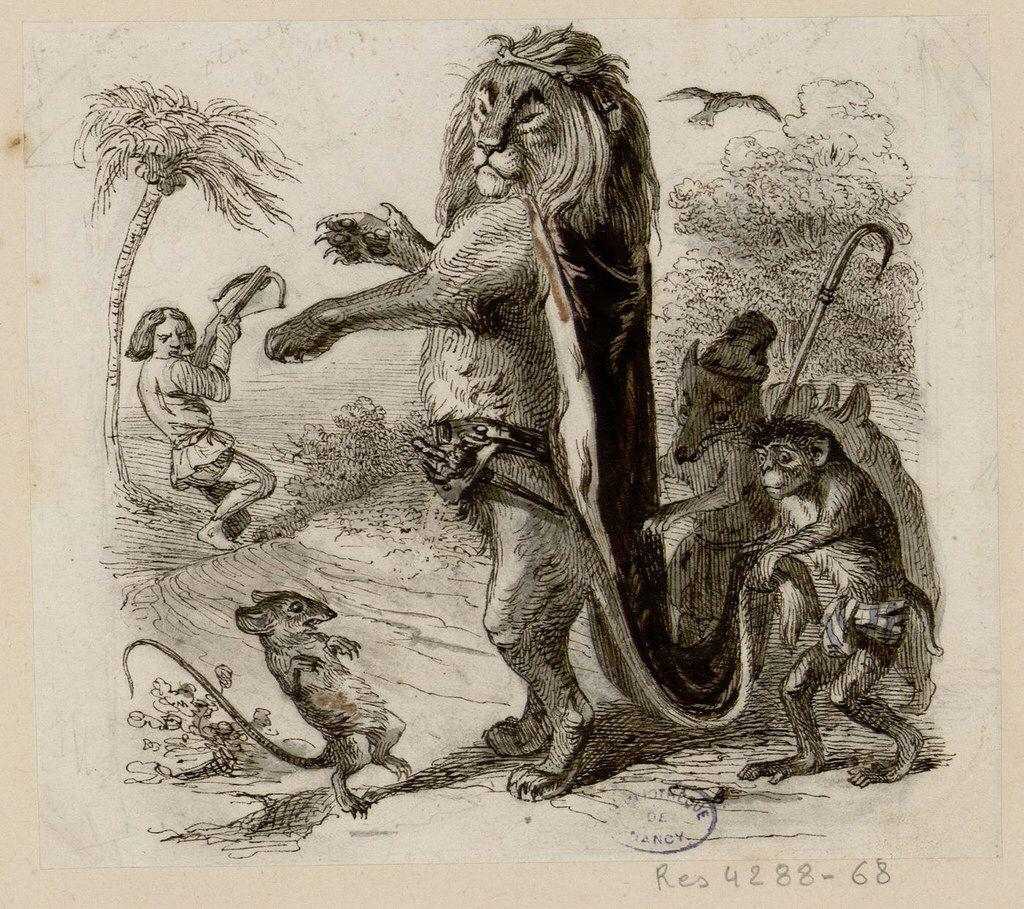 Le Lion Et Le Rat Grandville Fables De La Fontaine Illustration