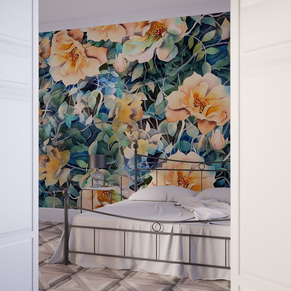Floral Murallarge Scale Floral Wallpaper Watercolor Wall Etsy Floral Wallpaper Wallpaper Wall Murals