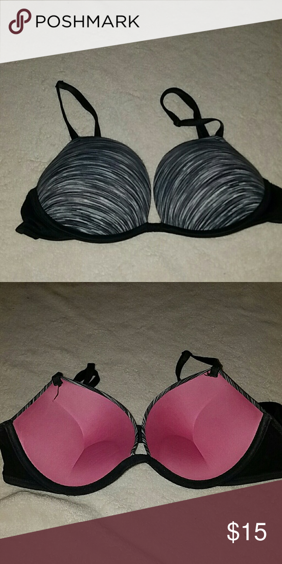 4f4c54e39a75f Wear Everywhere Super Push Gray and black push up bra with alot of ...