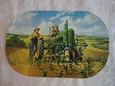 John Deere Reversible Placemat-Taking Break-Farmer-Son-Dog-Tractor-Cultivator