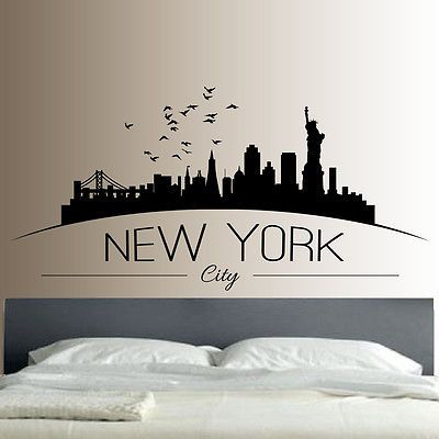 New York Skyline Wall Sticker Decal Bedroom Lounge Wall Art View More On The Link Htt Wall Stickers New York Wall Stickers Bedroom Picture Wall Bedroom