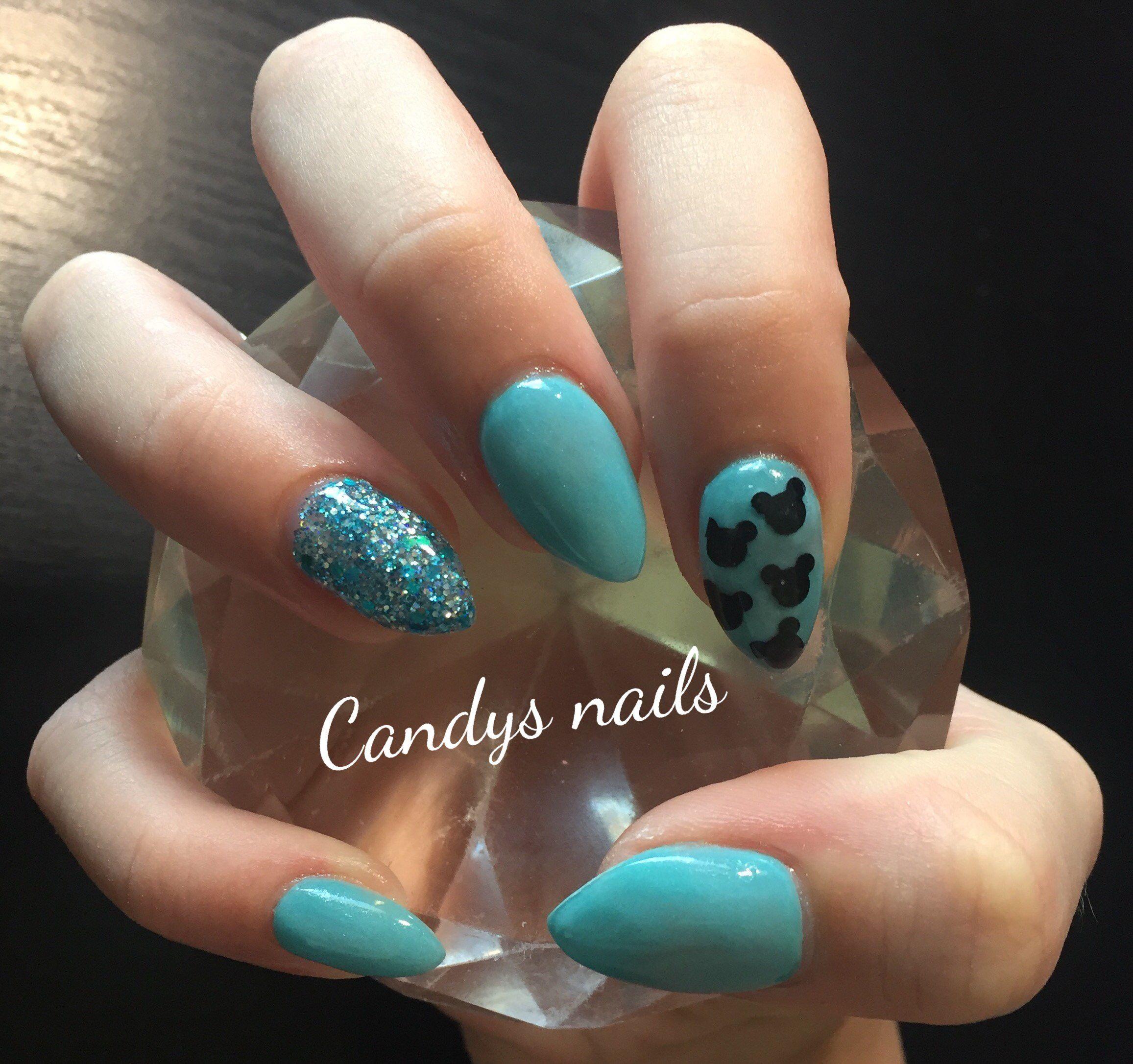 Teal Mickey Mouse Disney acrylic nails! | Candys Nails | Pinterest