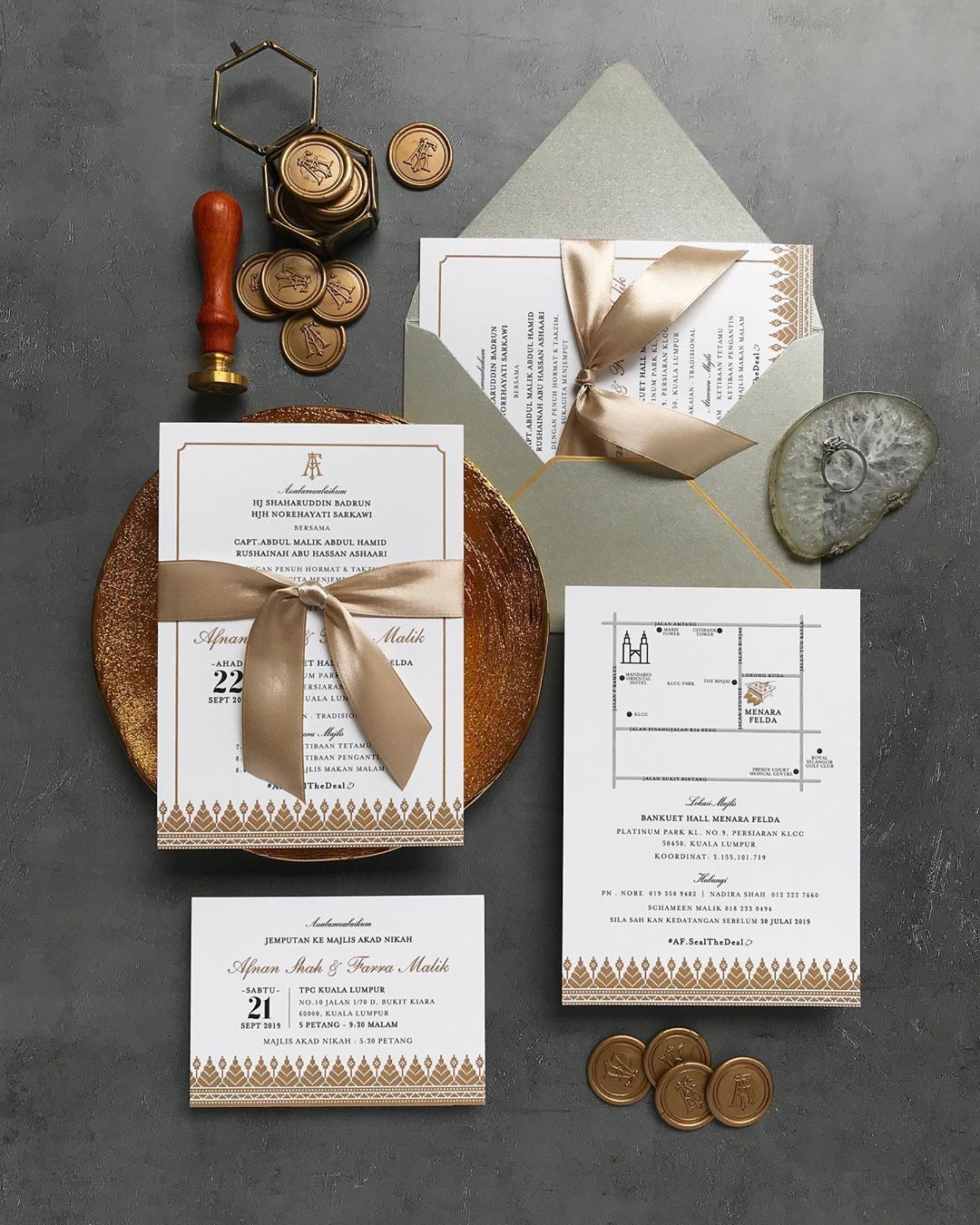 A Modern Take On Timeless Classic Main Invitation With Additional Card For Solemnisation Ready Made Wax Seal Luxe Invitations Invitations Place Card Holders