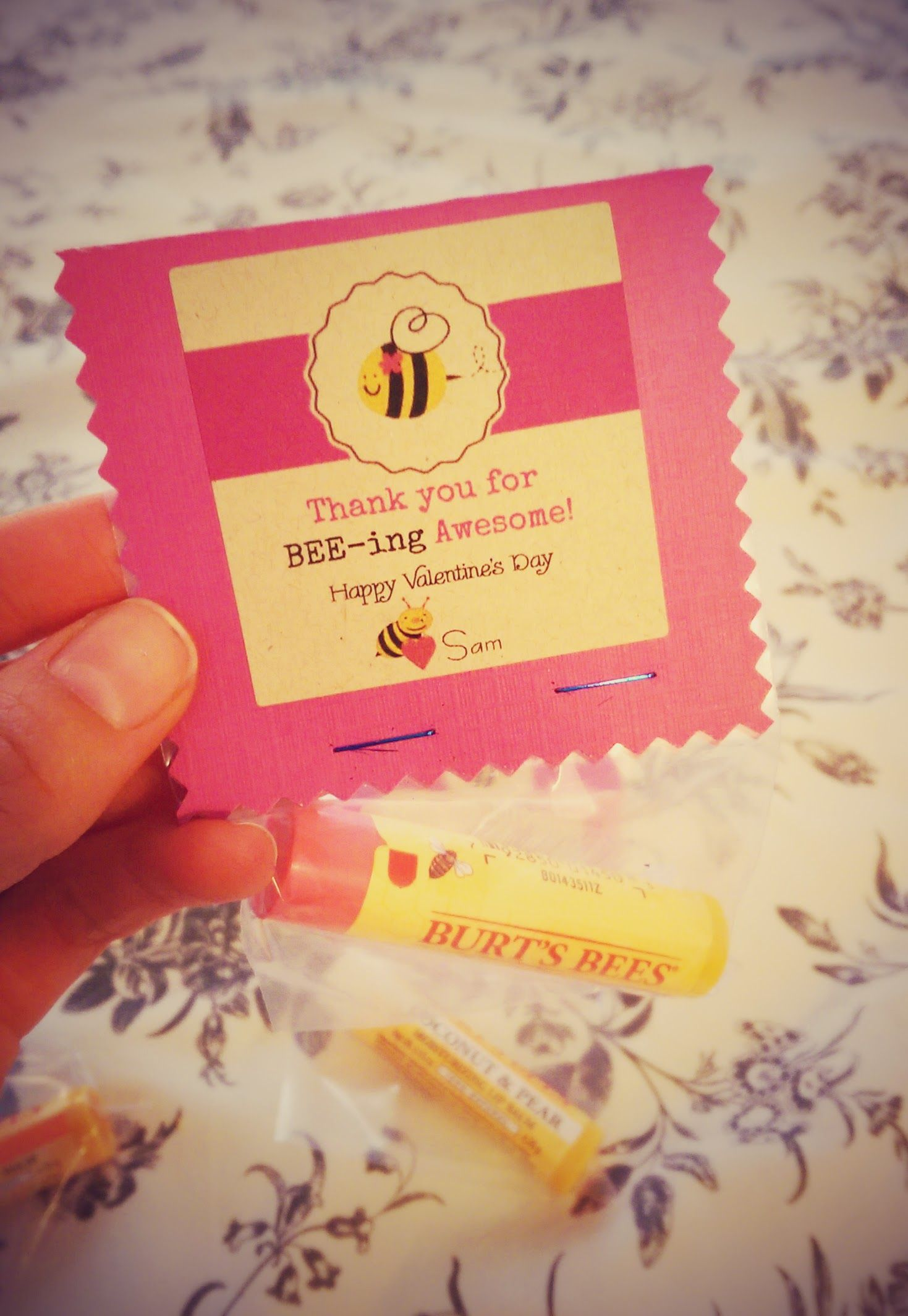 Another Quick Diy Valentine Burt S Bees Valentines Gift Card Valentine Gifts For Kids Bee Valentine