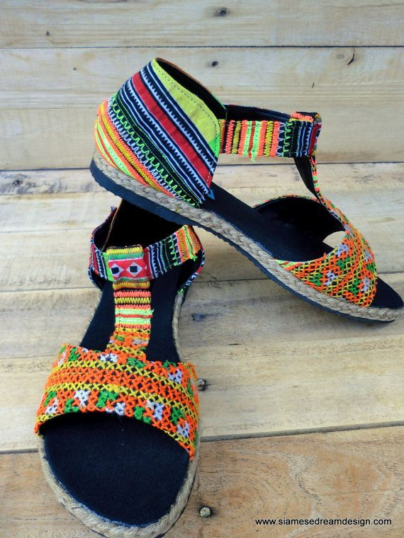 064e55fa278b T Strap Vegan Womens Sandals Ethnic Hmong Embroidery Orange and ...