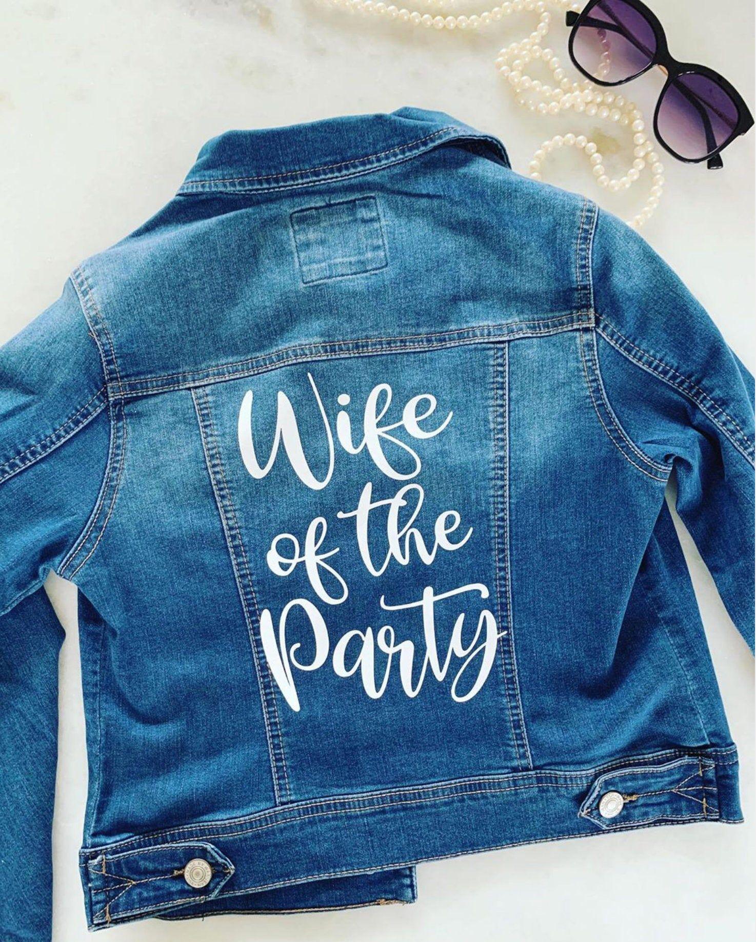 Wife Of The Party Denim Jacket Bride Jean Jacket Etsy Bachelorette Outfits Denim Jacket Lightweight Denim Jacket [ 1838 x 1474 Pixel ]