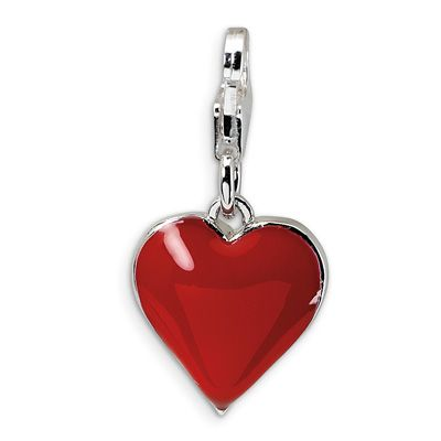 Amore La Vita™ Red Heart Charm with Cubic Zirconia in Sterling Silver - Zales