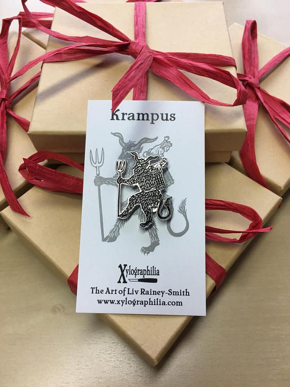 Krampus Christmas Devil enamel artist pin nickel free HELL SANTA