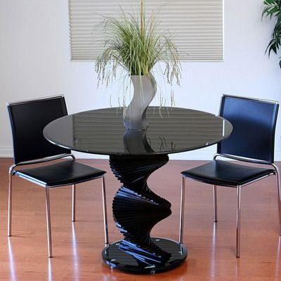 Transdeco Black Glass Dining Table With Spiral Base Glass Dinning Table Glass Dining Table Dining Table In Kitchen