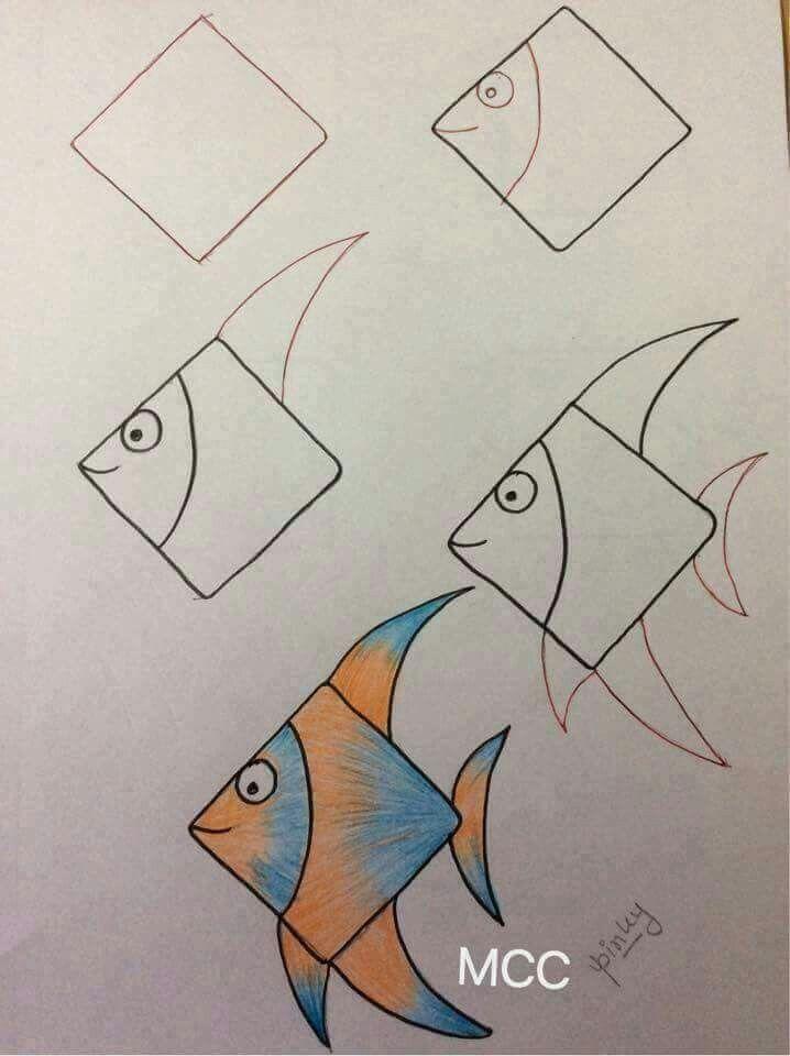 رسم سمكة Easy Drawings Art Drawings For Kids Drawing Tutorial