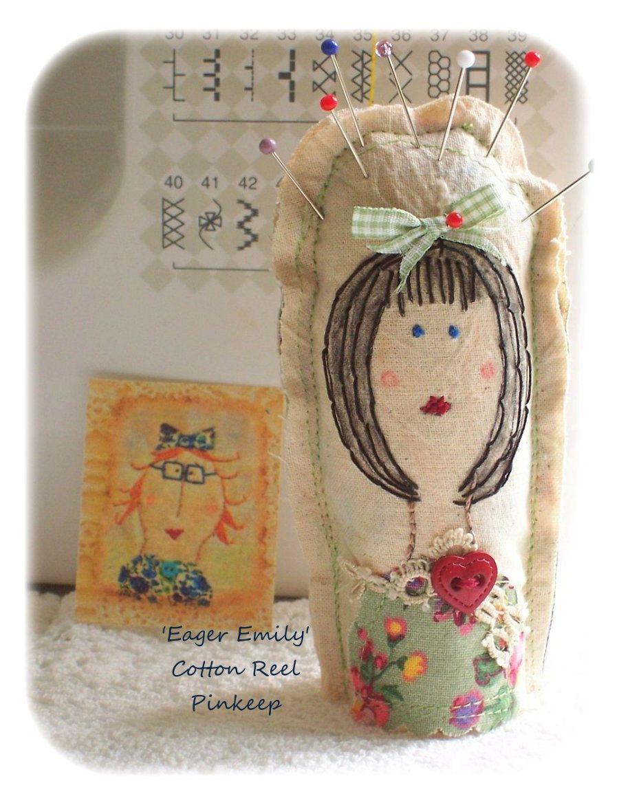 Eager Emily Cotton Reel Pin Cushion, patchwork, primitive