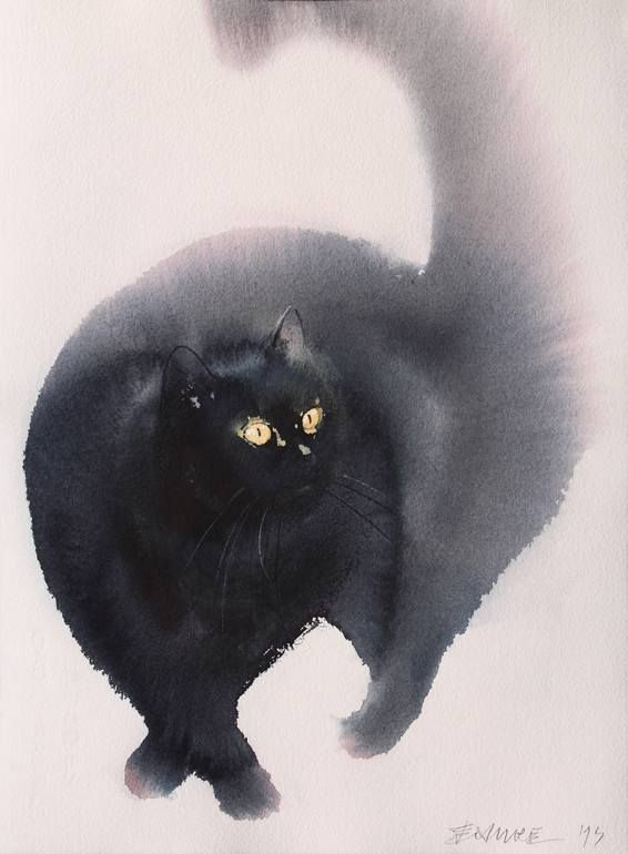 Soft Step Endre Penovac Watercolor Cat Black Cat Art Cats