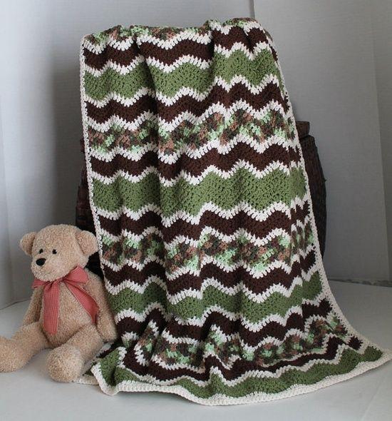 Baby Ripple Afghan Crib Blanket Baby Camo Ripple Afghan Crib