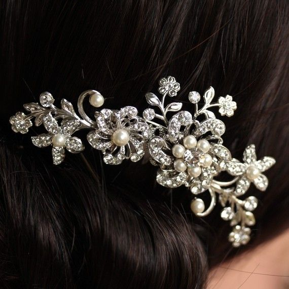 Bridal Hair Comb Swarovski Rhinestone Ivory Pearl By Lulusplendor Available Thru Etsy Please Mention That