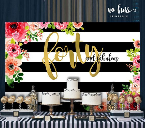 Forty And Fabulous Backdrop Adults Party Banner Poster Etsy