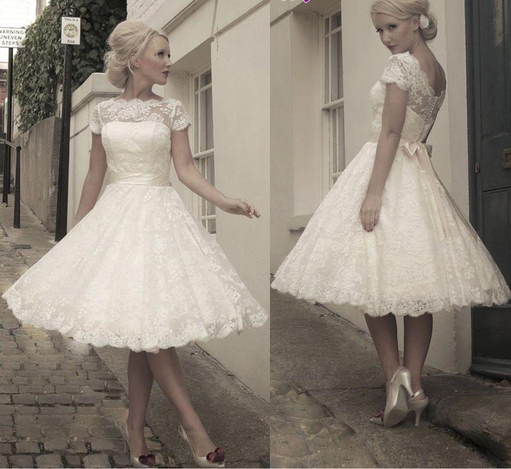 Custom whiteivory lace beach wedding dresses tea length bridal gown