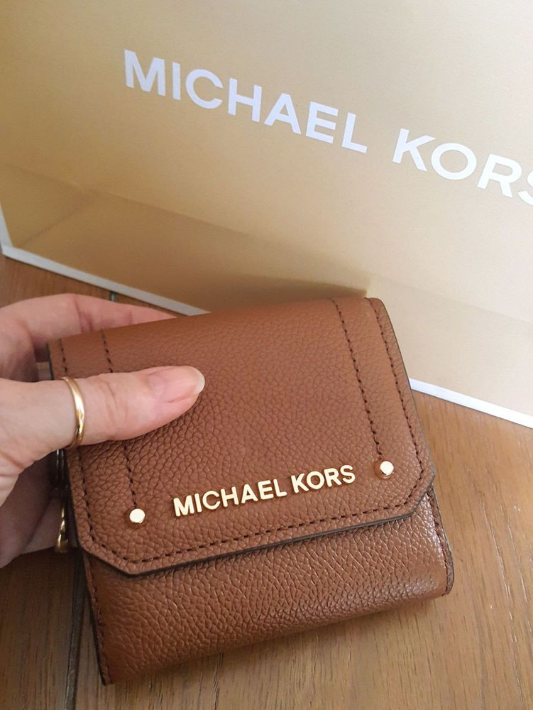 a24d7ab56f1a MICHAEL KORS Medium Trifold Brown Leather Coin Case Wallet NWT  MichaelKors   Trifold