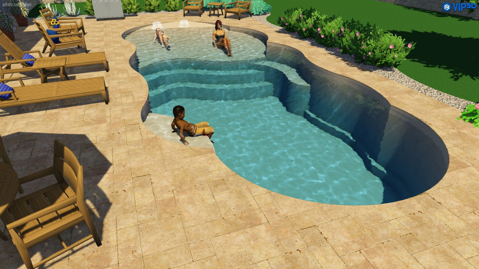 Introducing The World S First Beach Entry Fiberglass Pool Designs