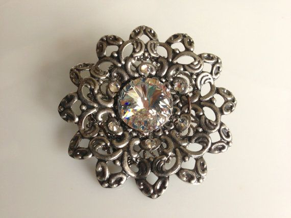 Brooch in Oxidised Silver and Swarovski by CeeCeeJewellery on Etsy, $22.86
