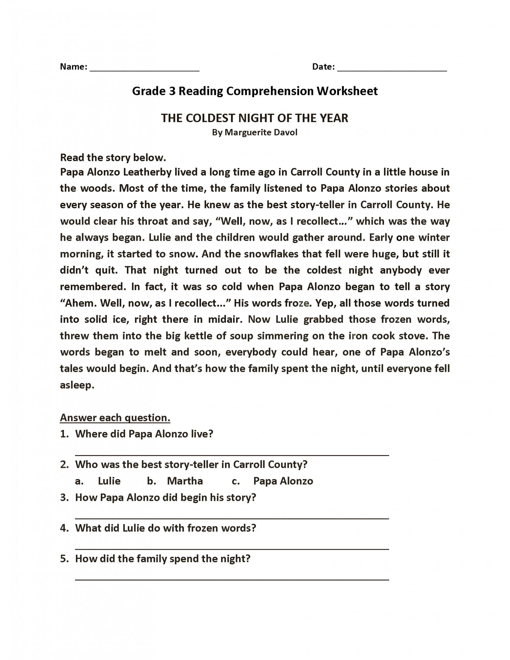 Reading Comprehension Worksheets In