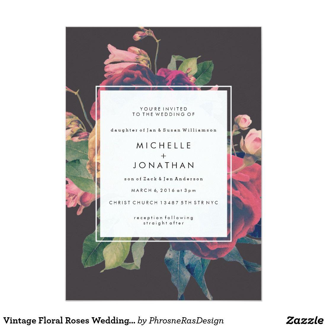 Vintage Floral Roses Wedding Invitation | Watercolor Wedding ...