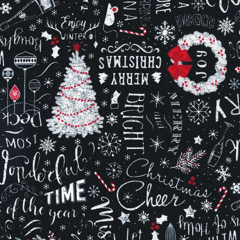Black and White Snowflake Toss Timeless Treasures YARD Christmas Fabric