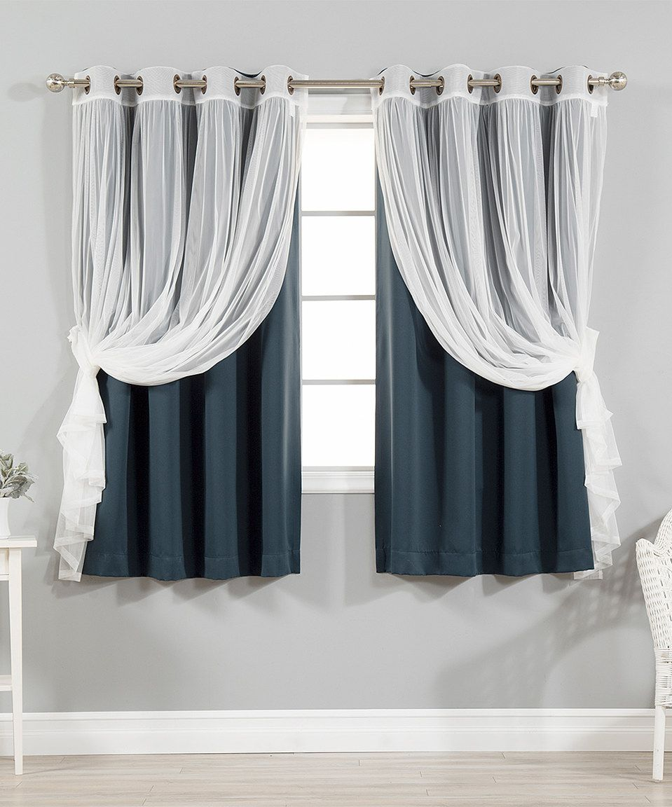 Take A Look At This Navy Tulle Blackout Short Curtain Panel Set