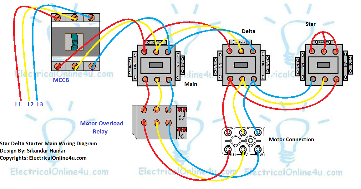 A Star Delta Starter Wiring Diagram 3 Phase Motor Star Delta Starter Diagram With Connection Of 3 Phase Motor And Con Electrical Circuit Diagram Delta Diagram