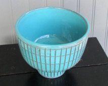 Vintage retro mid century modern blue Italian art pottery pedestal bowl planter stamped Italy - Bitossi Rimini Rosenthal Netter Raymor