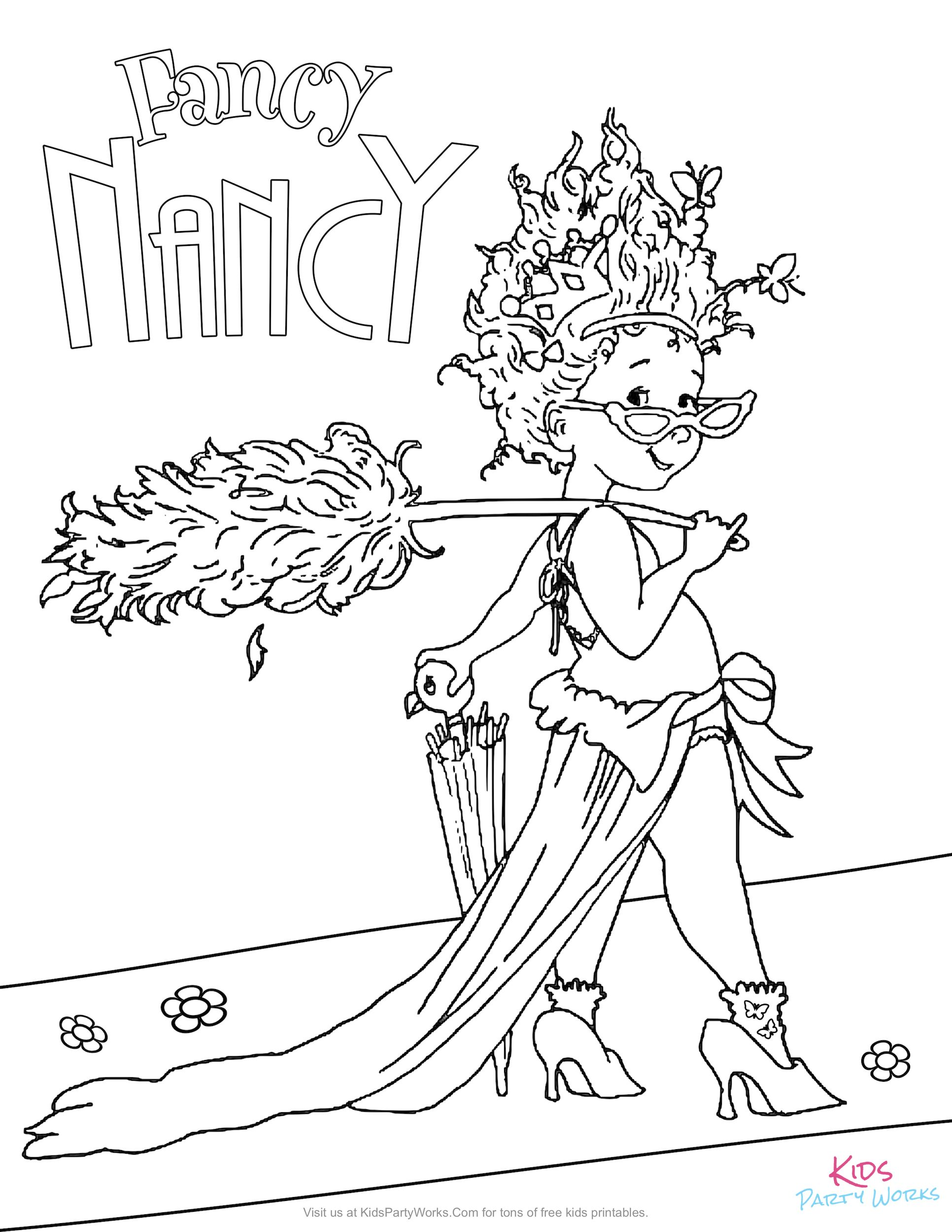 Have fun coloring this free Fancy Nancy coloring page for