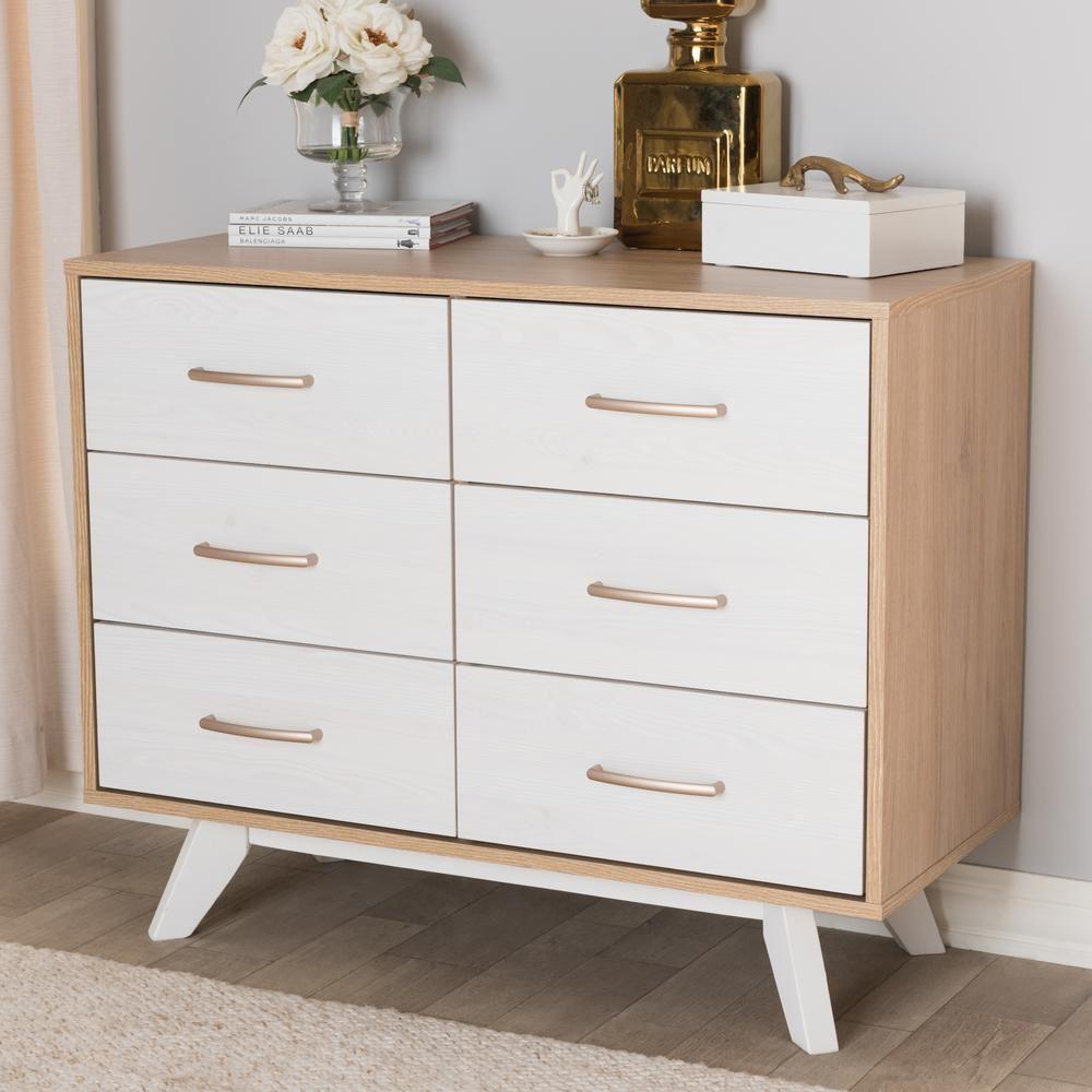 Baxton Studio Helena 6 Drawer Natural And Whitewash Dresser 28862 8009 Hd Modern Dresser Mid Century Modern Dresser Wood Dresser