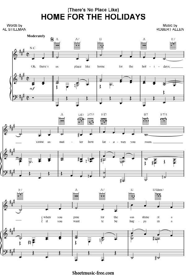 Home for the Holidays Sheet Music Christmas Sheet Music Download - chord charts examples in word pdf