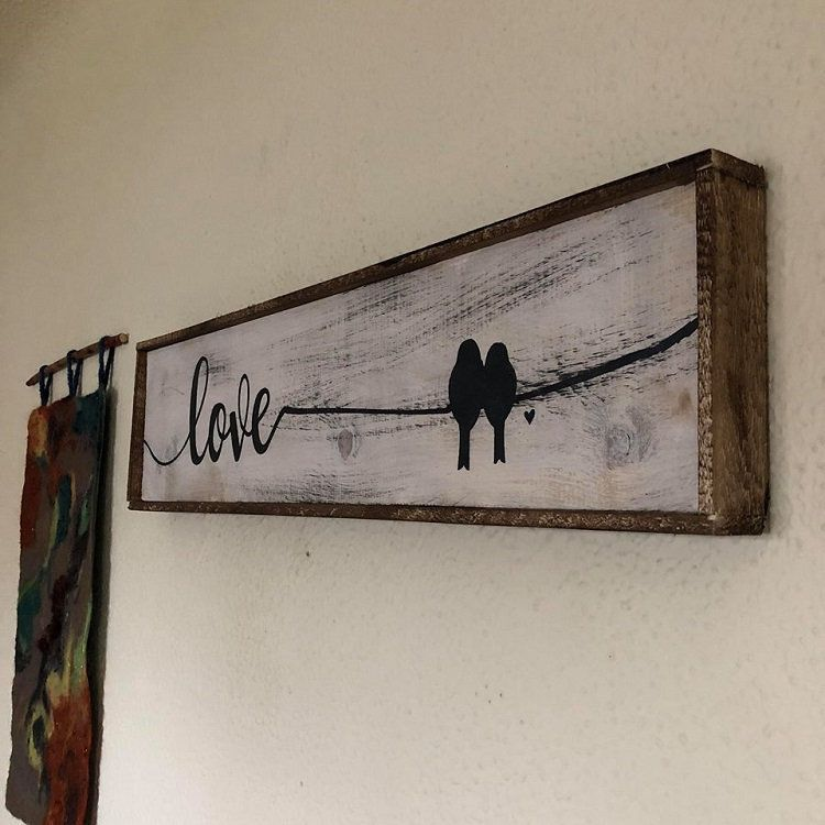 Love Birds Sign Love Birds Love Birds Decor Birds On A Wire Housewarming Gift Above Bed Wood Signs Wedding Gift Diy Wedding Gifts Wood Signs For Home
