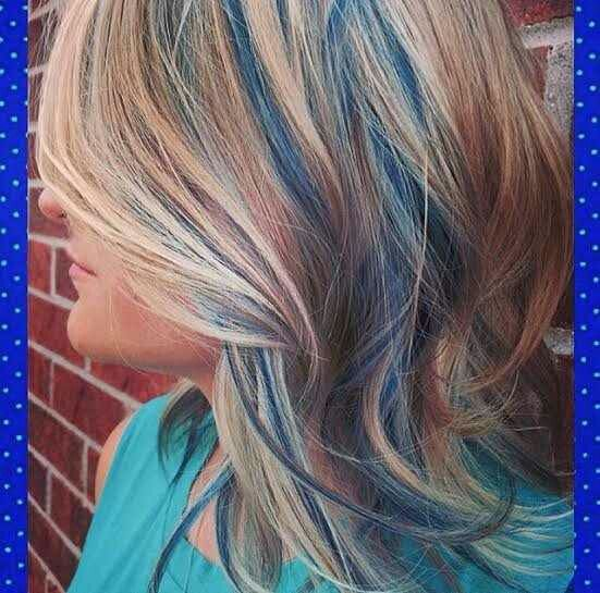 Blue Lowlights Blonde Hair Color Temporary Hair Color Hair Color Blue