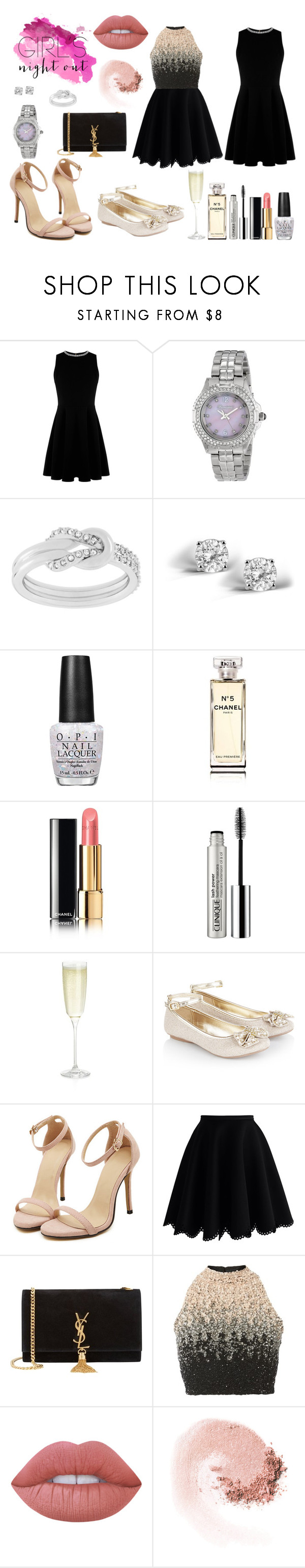 """""""Girls Night Out"""" by lauramacbeath ❤ liked on Polyvore featuring Warehouse, BOMBSHELL, Swarovski, Glitzy Rocks, OPI, Chanel, Clinique, Crate and Barrel, Monsoon and Chicwish"""