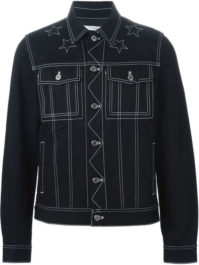 $1,125, Black Denim Jacket: Givenchy Stitched Detail Denim Jacket. Sold by farfetch.com. Click for more info: https://lookastic.com/men/shop_items/329916/redirect